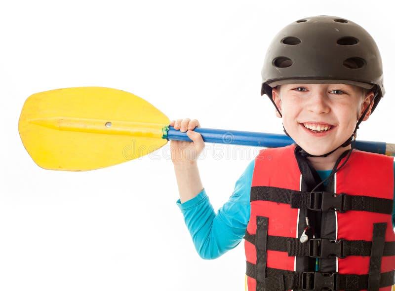 Kayaker de la jeunesse photo stock