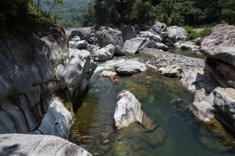 Kayaker en el río cangrejal en hond del parque nacional del bonito del pico fotografía de archivo libre de regalías