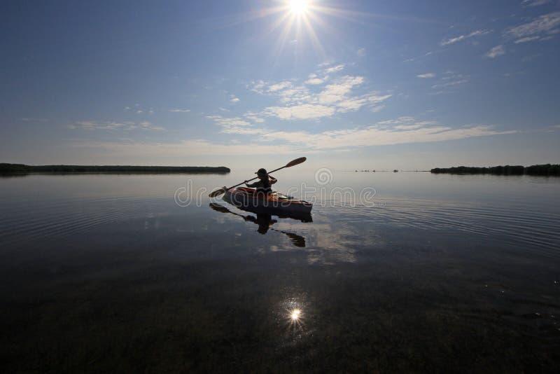 Kayaker i den Biscayne nationalparken, Florida arkivbild