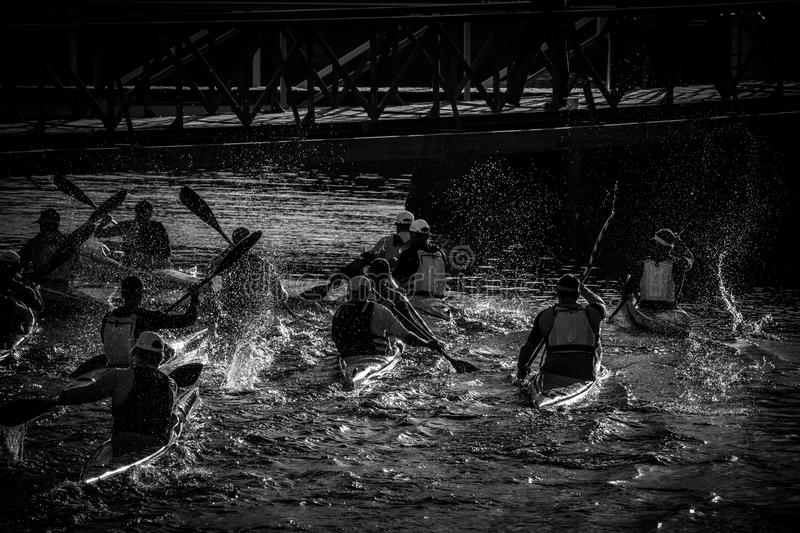 Kayaker Mayhem royalty free stock photography