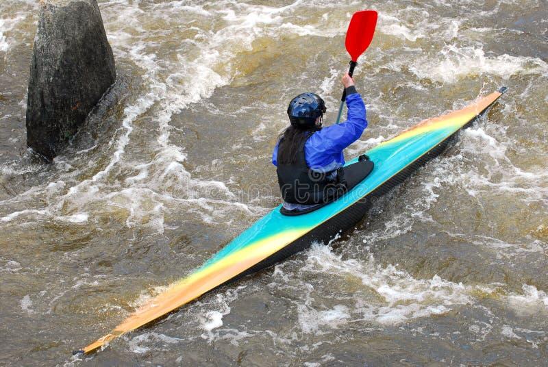 Kayaker no rio fotografia de stock royalty free
