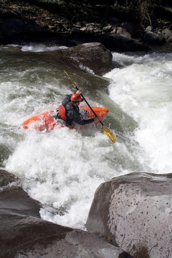 Kayaker sul fiume di Cheoah fotografie stock libere da diritti