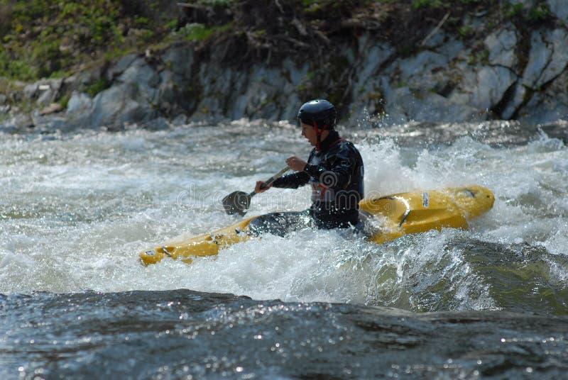 Kayaker in un flusso selvaggio immagine stock libera da diritti