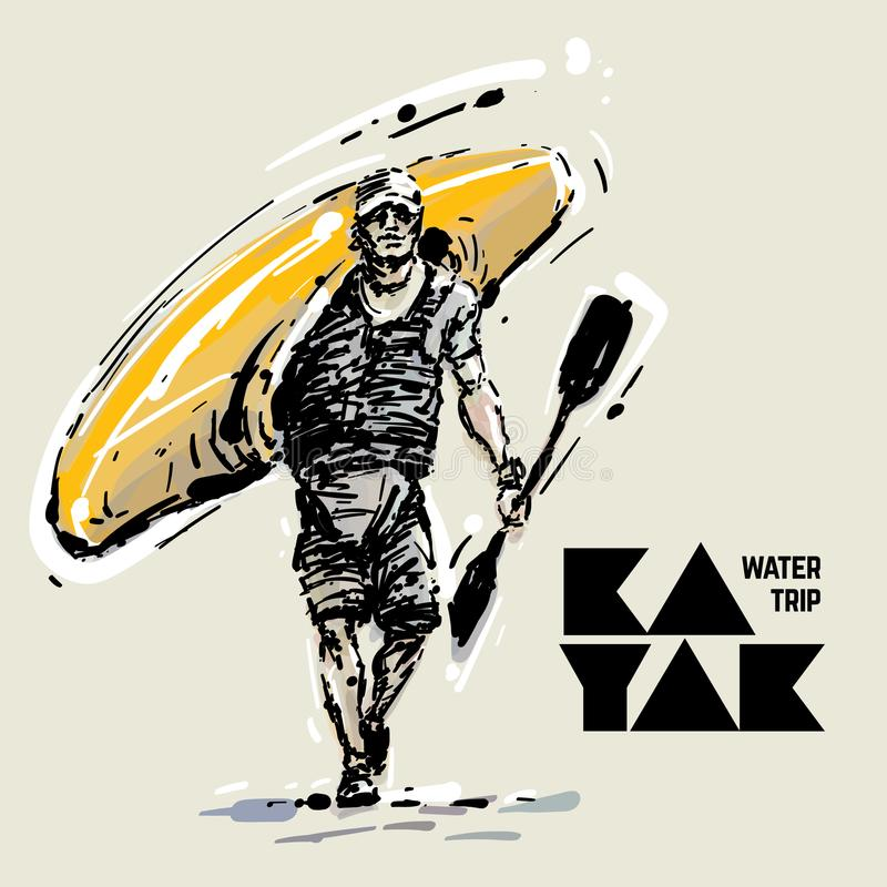 Kayaker Vector illustratie stock illustratie