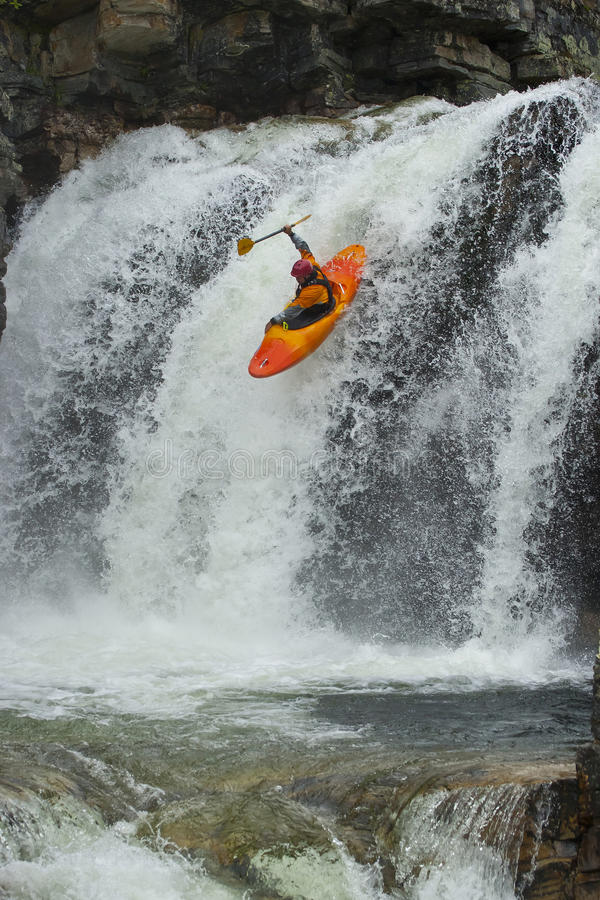 Download Kayaker in the waterfall stock image. Image of river - 20665899