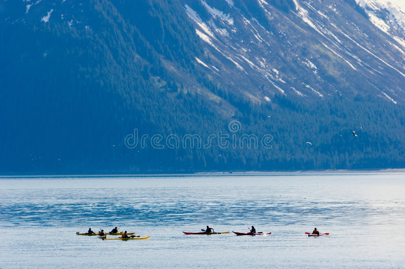 Kayakers in Alaska stock image