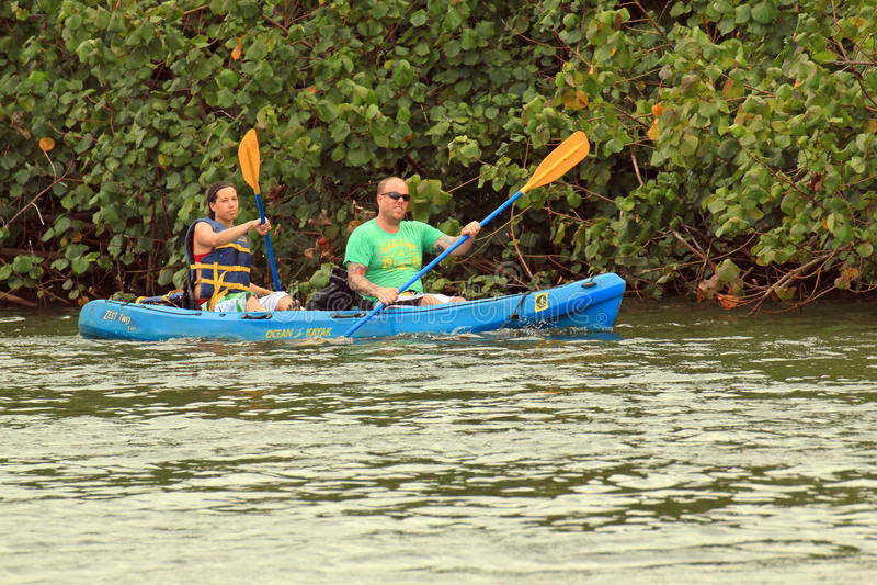 Kayakers de fleuve de Wailua image stock