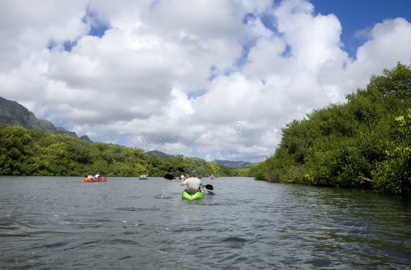 Kayakers del fiume immagini stock