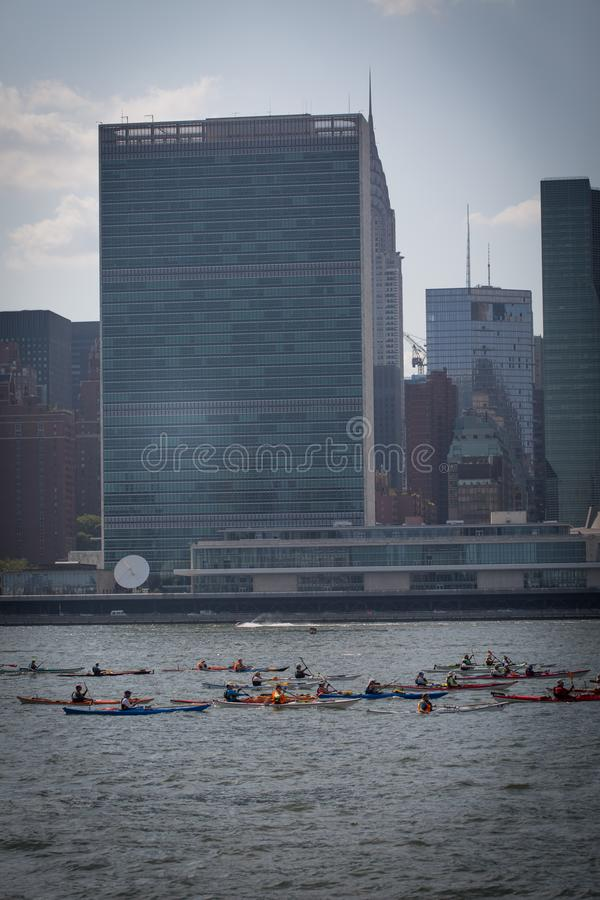 Kayakers at the East River stock photo
