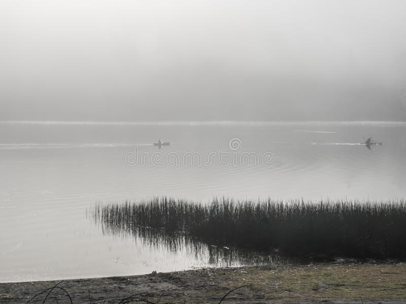 Kayakers on a foggy lake. Two kayakers paddle across a lake on a still, foggy morning with marsh grass in the foreground stock photos