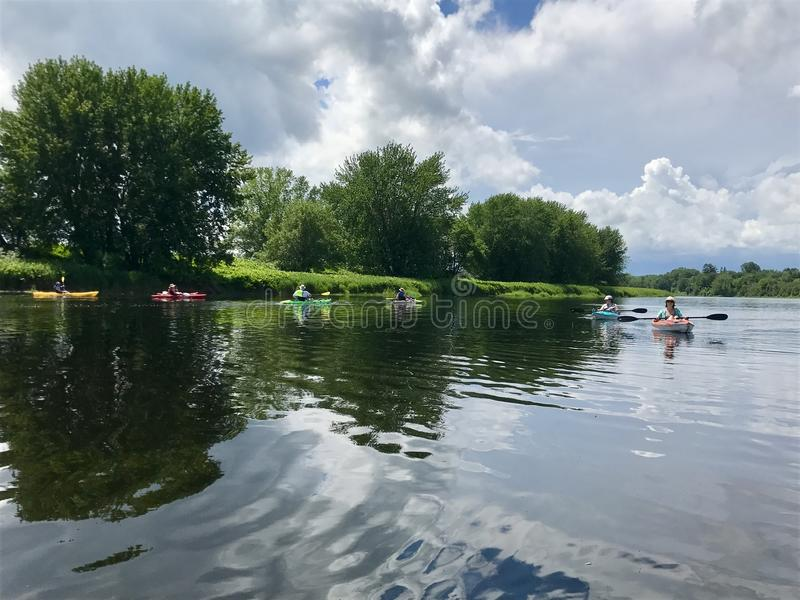 Kayakers on the Saint John River in Fredericton stock photography