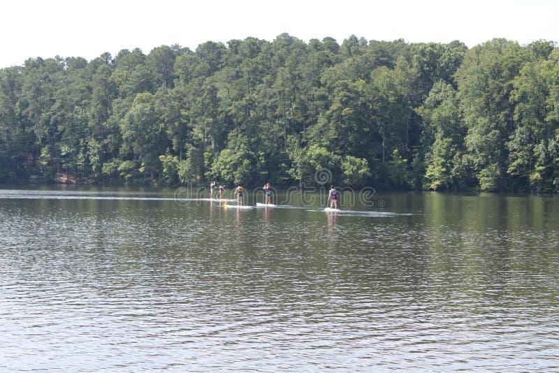 Kayakers tycker om att vara i sjön royaltyfria foton