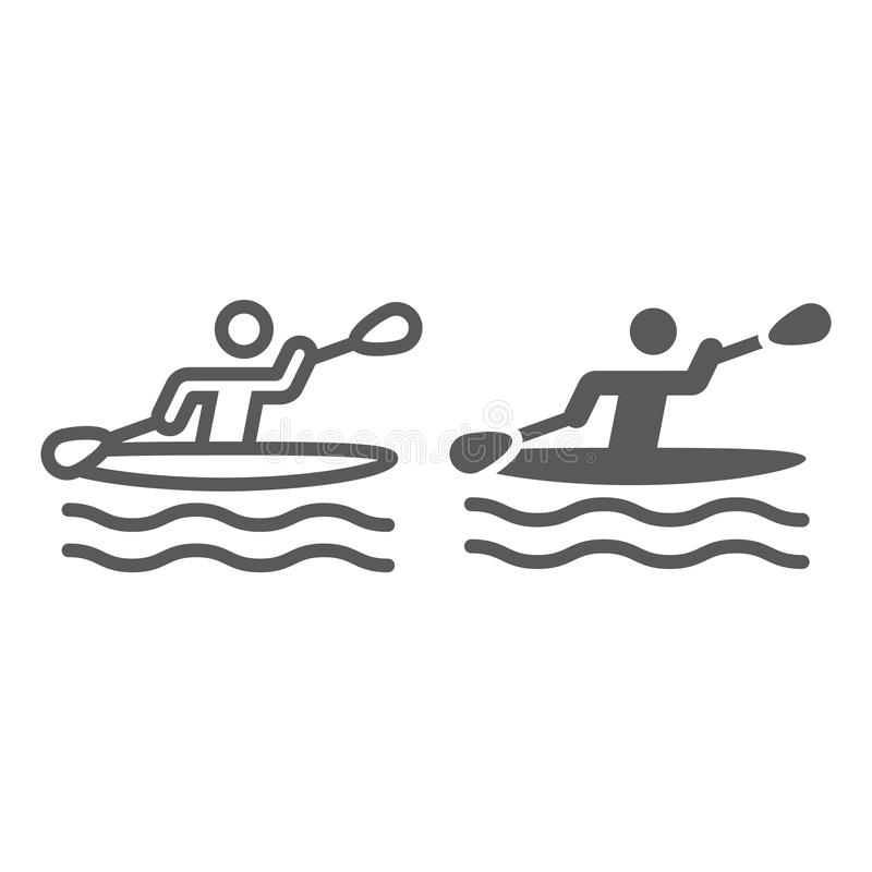 Kayaking γραμμή και glyph εικονίδιο ατόμων, αθλητισμός και κωπηλασία, σημάδι κωπηλασίας σε κανό, διανυσματική γραφική παράσταση,  απεικόνιση αποθεμάτων