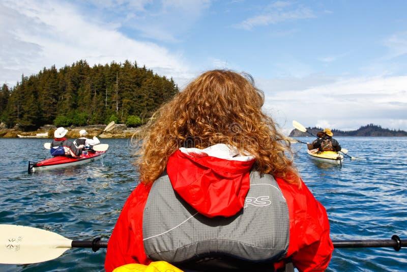 Kayaking залив Kachemak около пробежки домой Аляски стоковое изображение