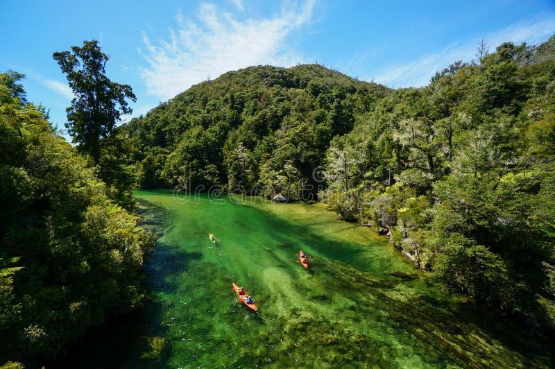 Kayaking at Abel Tasman National Park in New Zealand royalty free stock photo