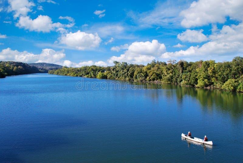 Kayaking in Austin stockbilder