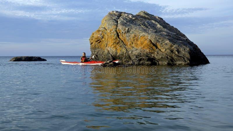 Kayaking - baie géorgienne Ontario image libre de droits