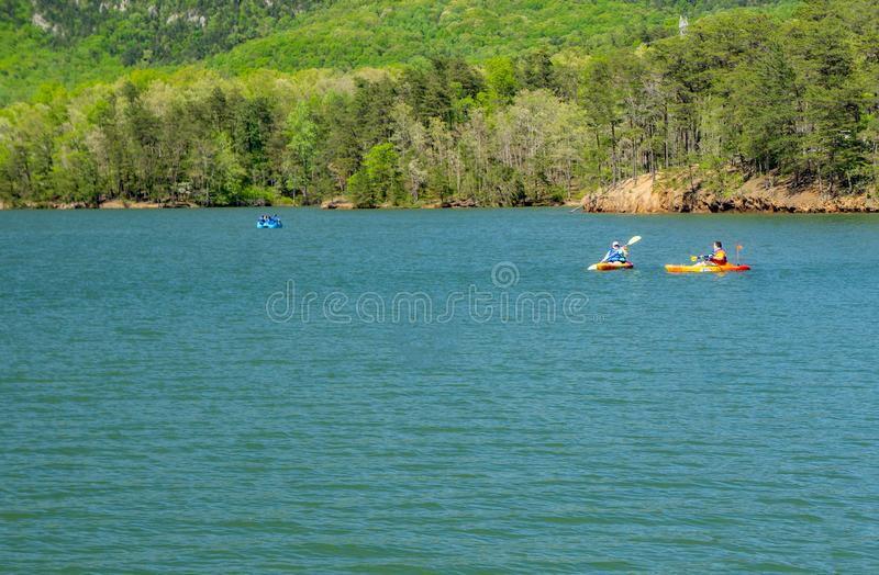 Kayaking on Carvins Cove Reservoir royalty free stock image