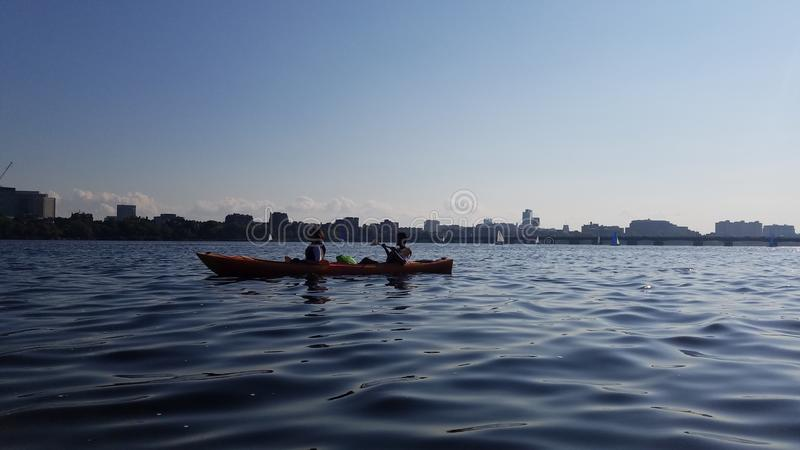 Kayaking on the Charles royalty free stock photo