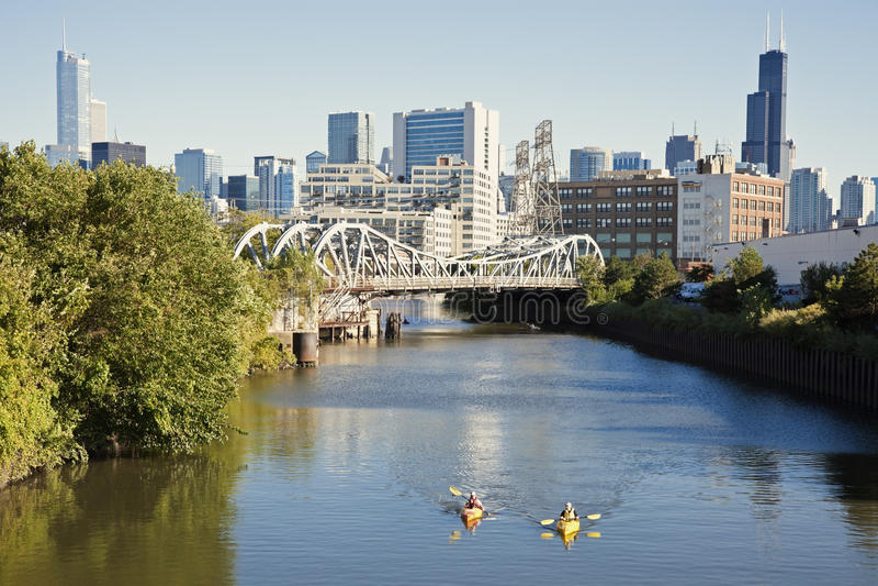Kayaking on Chicago River stock image