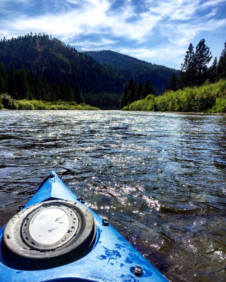 Kayaking den Blackfoot floden royaltyfria foton