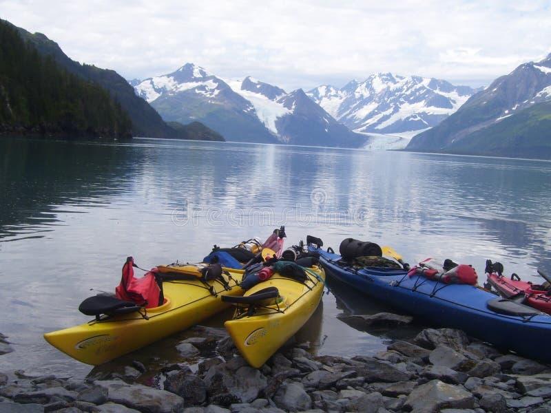 Kayaking em Alaska fotos de stock