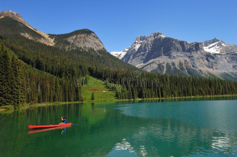 Kayaking em um lago canadense imagem de stock