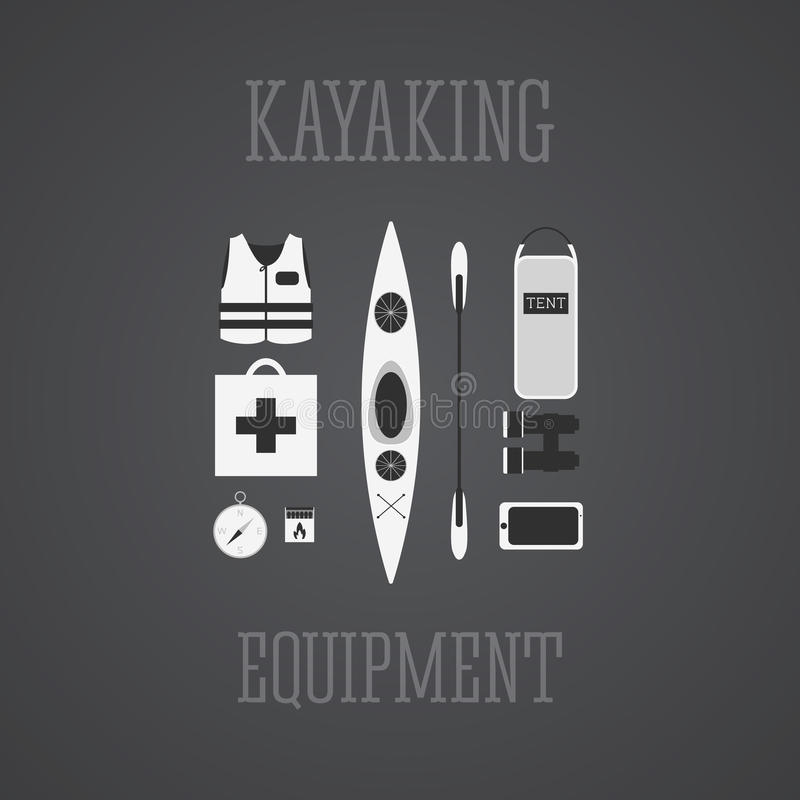 Kayaking equipment icons set. Kayak illustration on a grayscale design. With tent, compass, mobile device, binoculars, life jacket royalty free illustration