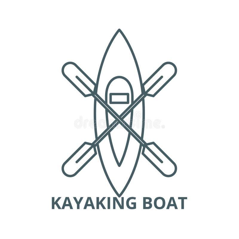 Kayaking fartygvektorlinje symbol, linjärt begrepp, översiktstecken, symbol stock illustrationer