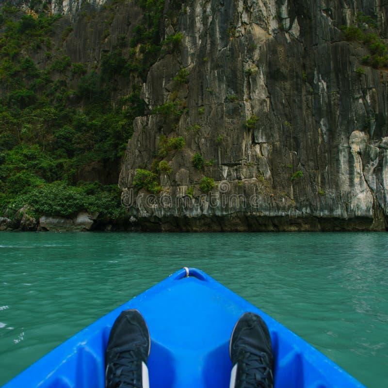 Kayaking at Ha Long Bay Vietnam royalty free stock photos