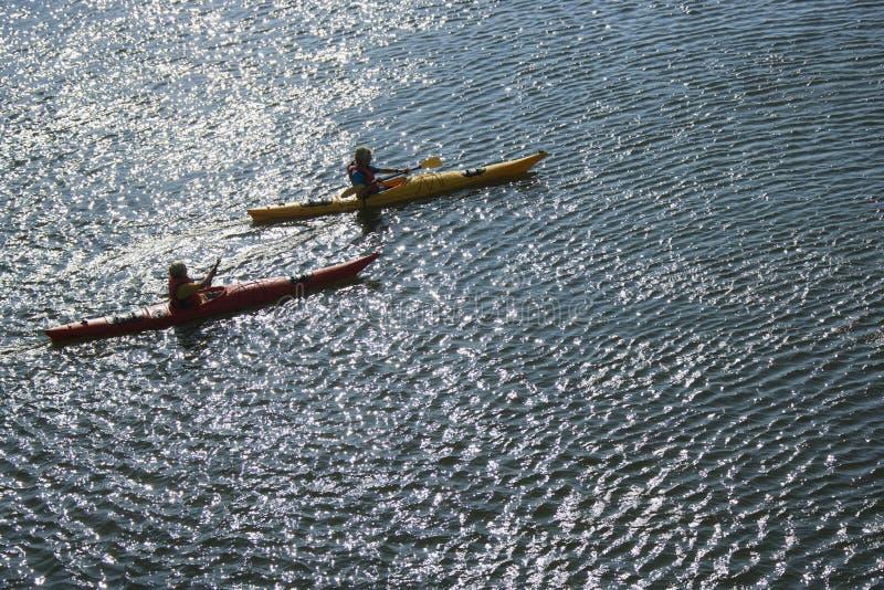 kayaking hav för pojkar royaltyfria bilder