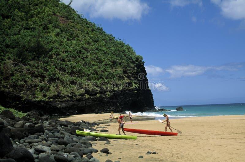 Kayaking in Hawaï stock foto's