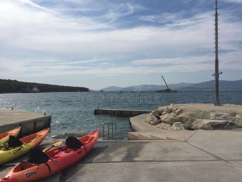 Kayaking Kroatië royalty-vrije stock afbeeldingen