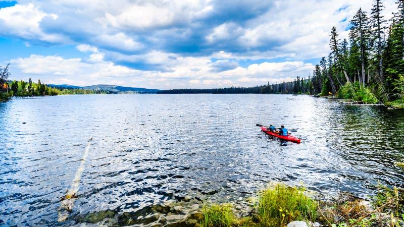 Kayaking on Lac Le Jeune lake near Kamloops, British Columbia, Canada stock photos