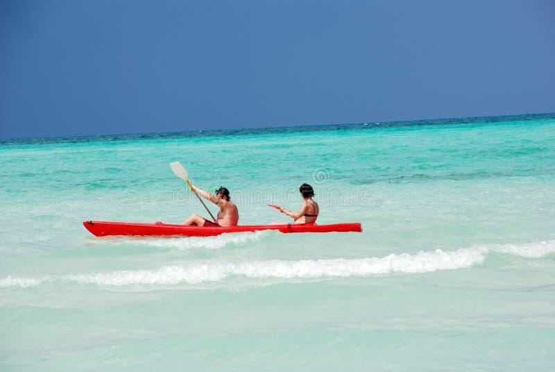 Kayaking Meer stockbild