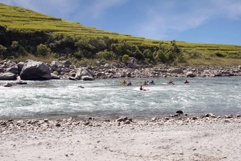 Kayaking - Nepal royalty-vrije stock afbeeldingen