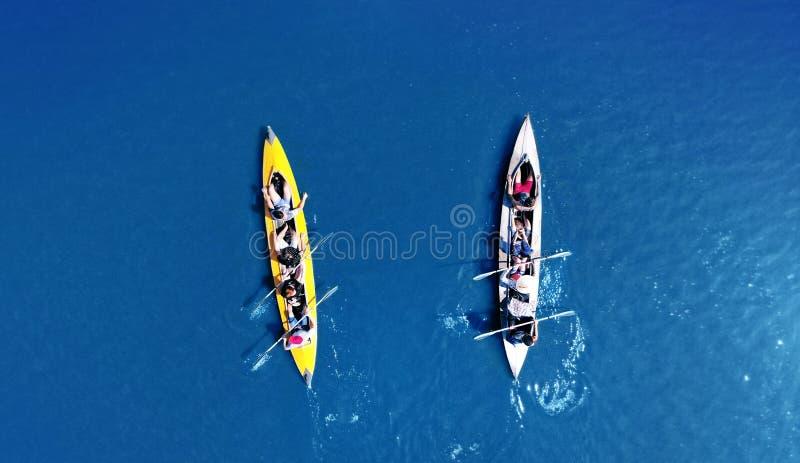 Kayaking odgórny widok Grupa wiosłuje wpólnie kajaki obrazy royalty free