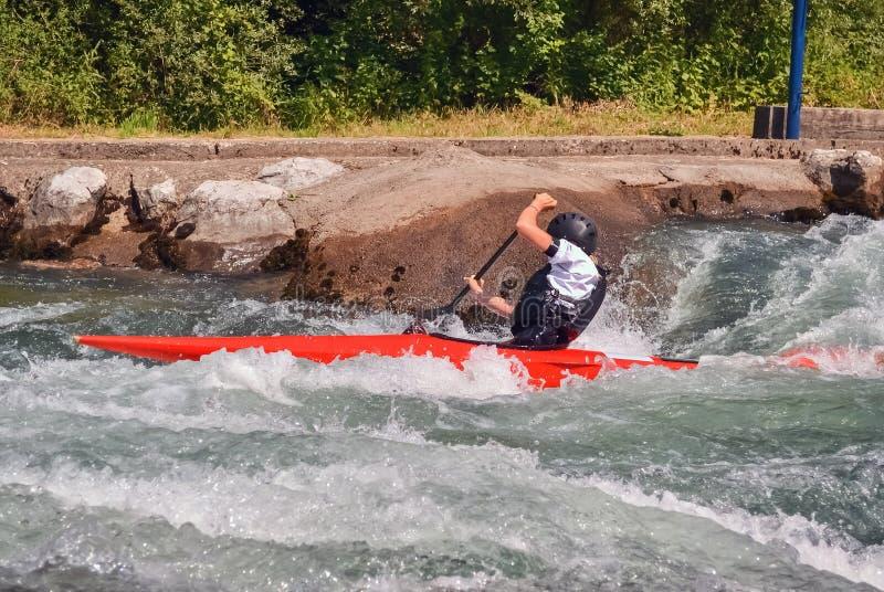 Kayaking rapids and kayaker royalty free stock photos