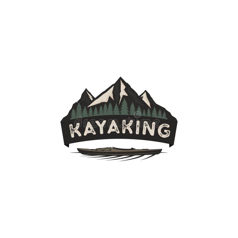 Kayaking rocznik odznaka Halna badacz etykietka Plenerowy przygoda loga projekt Pustkowie, lasowy campingowy emblemat ilustracji