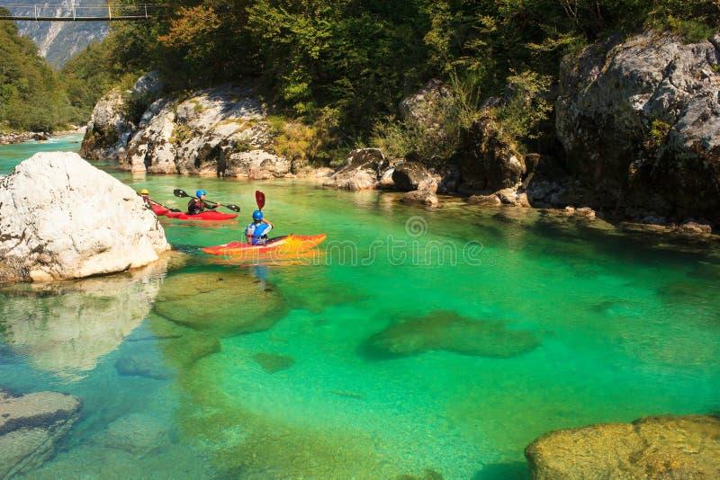 Kayaking on the Soca river, Slovenia stock image