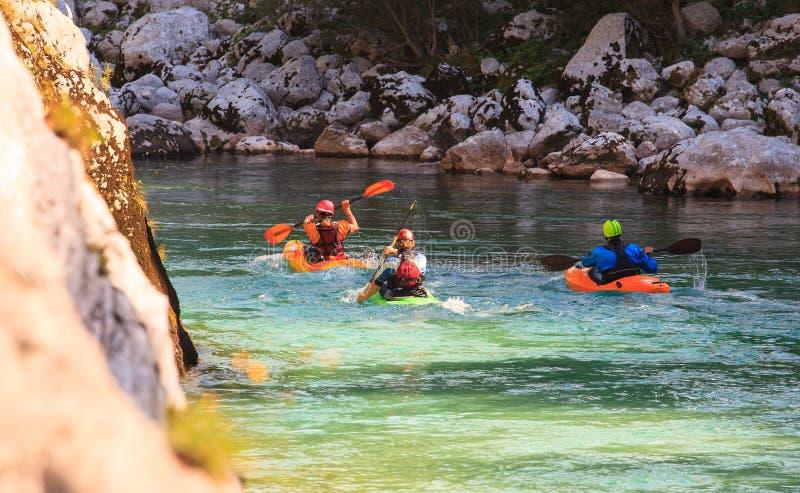 Kayaking on the Soca river, Slovenia. Kayaking in the summer on the Soca river, Slovenia stock image