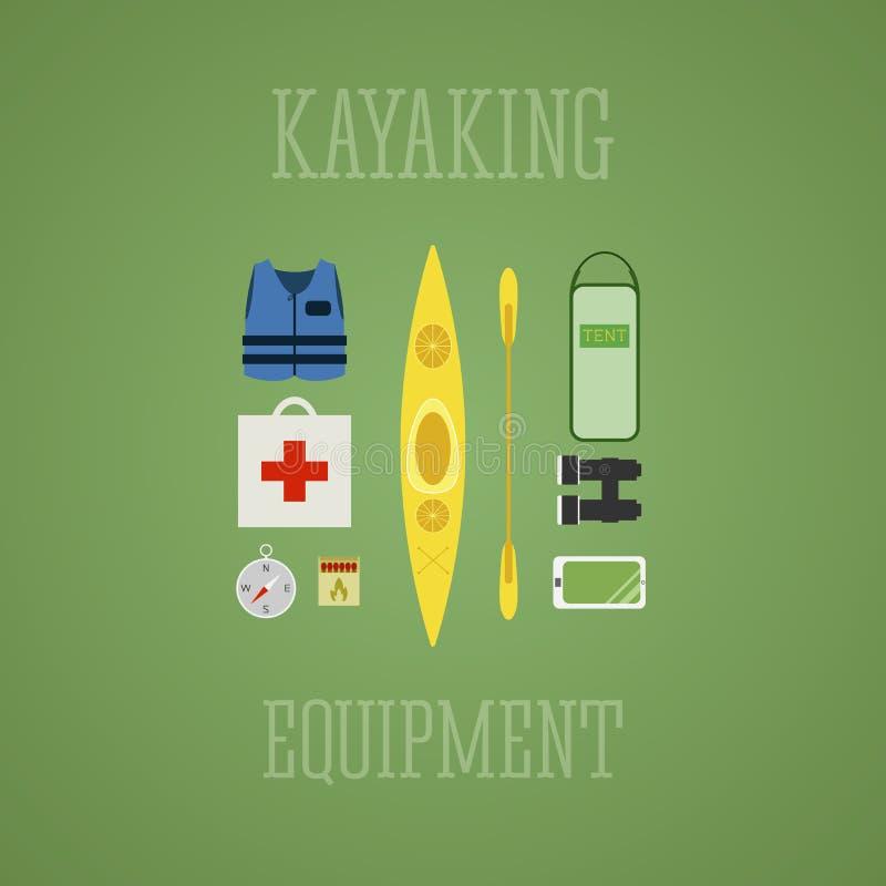 Kayaking utrustningsymbolsuppsättning Kajakillustration på en flerfärgad design Med tältet kompass, mobil enhet, kikare, livjacke royaltyfri illustrationer