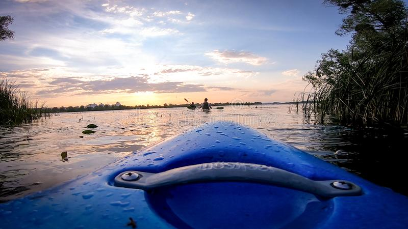 Kayaking w Kyiv fotografia stock