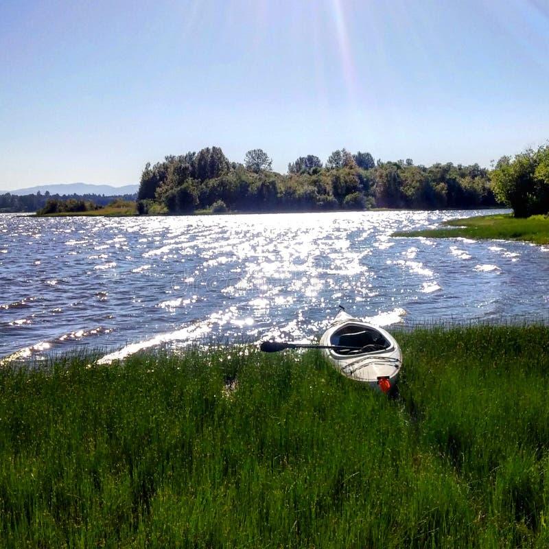 Kayaking w Vancouver jeziorze zdjęcia stock