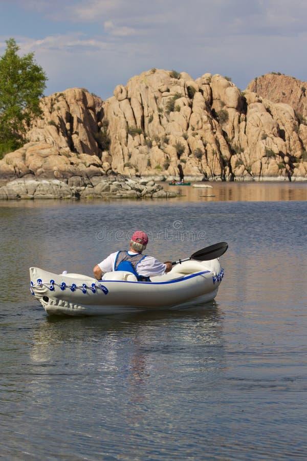 Kayaking Watson Lake royalty free stock photo