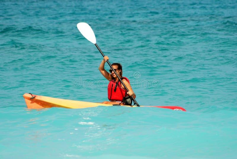 Kayaking woman stock photo