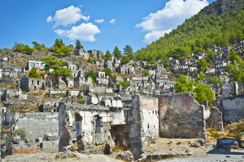 Kayakoy at Fethiye Turkey. Photo of Ghost Town at Kayakoy Fethiye Turkey royalty free stock image