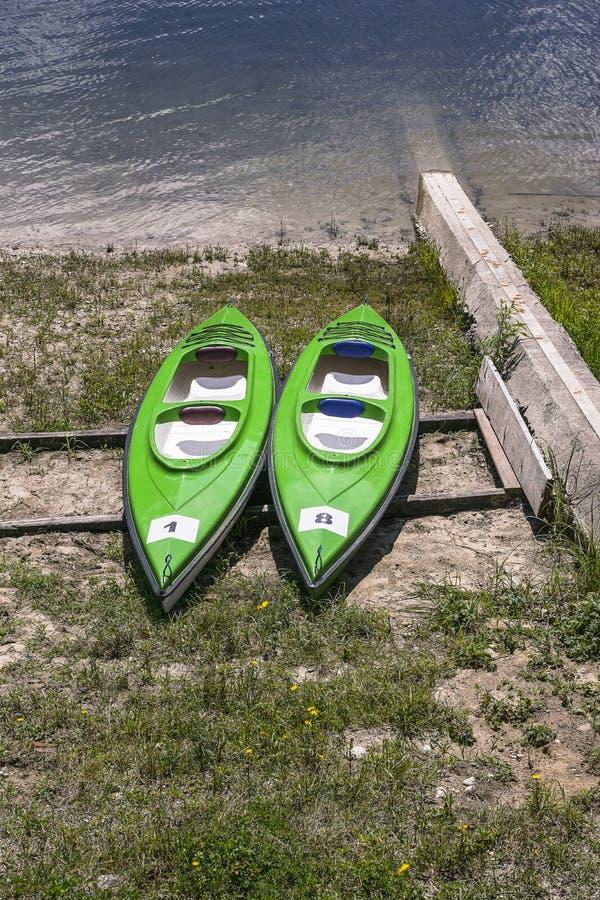 Kayaks on the Bank royalty free stock photo