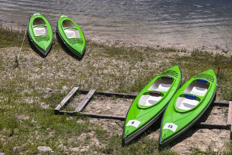 Kayaks on the Bank royalty free stock photos