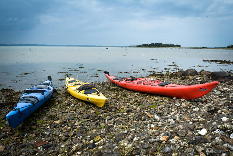 Kayaks at the bay, Denmark stock photo
